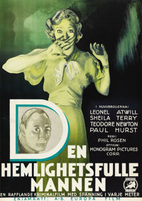 """The Sphinx (Monogram, 1933). Swedish One Sheet (27.5"""" X 39.5""""). Directed by Phil Rosen. Starring Lionel Atwill..."""