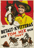 "Movie Posters:Western, Tom Mix Stock Poster (Universal, 1933). Swedish One Sheet (27.5"" X 39.5""). Starring Tom Mix. This is from one of the Univers..."