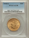 Indian Eagles: , 1910-S $10 AU58 PCGS. PCGS Population (423/652). NGC Census:(628/495). Mintage: 811,000. Numismedia Wsl. Price for problem...