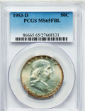 Franklin Half Dollars: , 1953-D 50C MS65 Full Bell Lines PCGS. PCGS Population (947/103).NGC Census: (311/15). Numismedia Wsl. Price for problem f...