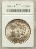 Morgan Dollars: , 1900-O $1 MS65 ANACS. NGC Census: (6524/1042). PCGS Population(5846/955). Mintage: 12,590,000. Numismedia Wsl. Price for p...