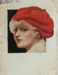 Pin-up and Glamour Art, CHARLES GATES SHELDON (American, 1889-1960). Lady with a RedBeret. Oil on paper. 8.5 x 9 in. (image). Not signed. ...