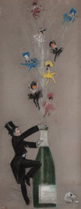 Pin-up and Glamour Art, CHARLES GATES SHELDON (American, 1889-1960). Popping theCork. Pastel on board. 39 x 15.25 in. (image). Signed lowerlef...