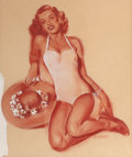 Pin-up and Glamour Art, CARL SETTER (American, 20th Century). Seated Pin-Up in a WhiteBathing Suit, circa 1960. Pastel on paper. 13.75 x 11.5 i...