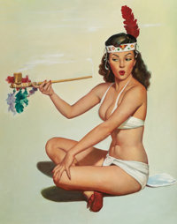 AMERICAN ARTIST (20th Century) Indian Maiden with Peace Pipe Oil on canvas 30 x 24 in. Not sig
