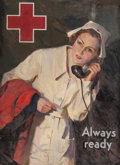 Mainstream Illustration, LAWRENCE NELSON WILBUR (American, 1897-1960). Always Ready,probable Red Cross advertisement. Oil on canvas laid on maso...