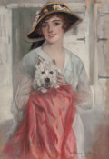 Pin-up and Glamour Art, HASKELL COFFIN (American, 20th Century). Posing with HerTerrier. Pastel on board. 32.5 x 22.5 in. (image). Signedlower...
