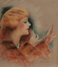 Pin-up and Glamour Art, CHARLES GATES SHELDON (American, 1889-1960). Putting on HerLipstick. Pastel on paper. 24 x 20 in. (image). Signed lower...(Total: 2 Items)
