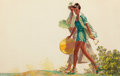 Mainstream Illustration, EDWIN GEORGI (American, 1896-1964). Couple Walking Along theBeach, The Saturday Evening Post story illustration. Mixed ...