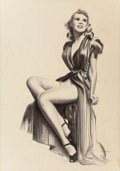 Pin-up and Glamour Art, WARNER KREUTER (20th Century). 1940s Pin-Up. Charcoal pencilon board. 18 x 9.5 in. (image). Signed (possibly by another...