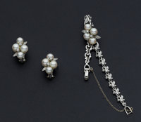 Diamond & Cultured Pearl Gold Bracelet and Earrings