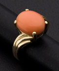 Estate Jewelry:Rings, Coral & Gold Ring. ...