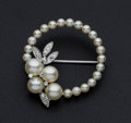 Estate Jewelry:Pearls, Diamond & Cultured Pearl Gold Brooch. ...