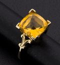 Estate Jewelry:Rings, Fancy Cut Citrine Gold Ring. ...