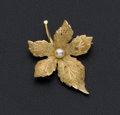 Estate Jewelry:Brooches - Pins, Cultured Pearl Leaf Gold Brooch . ...
