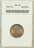 Liberty Nickels: , 1910 5C MS63 ANACS. NGC Census: (141/280). PCGS Population(172/329). Mintage: 30,169,352. Numismedia Wsl. Price for proble...