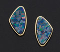 Estate Jewelry:Earrings, Inlaid Opal Gold Earrings. ...