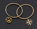 Estate Jewelry:Bracelets, Two 14k Gold Charm Bracelets. ... (Total: 2 Items)