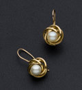 Estate Jewelry:Pearls, Cultured Pearl Gold Earrings. ...