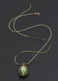 Estate Jewelry:Necklaces, Miniature Faberge Gold & Enamel Egg Necklace. ...