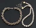 Estate Jewelry:Necklaces, Sterling Silver Necklace & Cultured Pearls. ... (Total: 2Items)