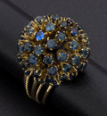 Estate Jewelry:Rings, Synthetic Sapphire Gold Dome Ring. ...