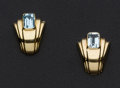 Estate Jewelry:Earrings, Blue Topaz Gold Earrings. ...