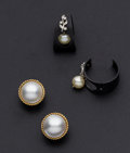 Estate Jewelry:Pearls, Mabe Pearl & Cultured Pearl Earrings. ... (Total: 2 Items)
