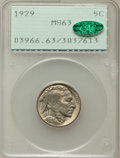 Buffalo Nickels: , 1929 5C MS63 PCGS. CAC. PCGS Population (229/1571). NGC Census:(137/821). Mintage: 36,446,000. Numismedia Wsl. Price for p...