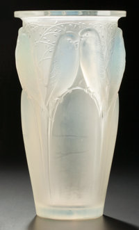 AN R. LALIQUE OPALESCENT GLASS CEYLAN VASE Lalique, France, circa 1924 Marks: