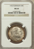 Commemorative Silver: , 1936 50C Robinson MS64 NGC. NGC Census: (1124/1023). PCGSPopulation (1849/1552). Mintage: 25,265. Numismedia Wsl. Pricefo...