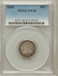 Bust Dimes: , 1835 10C VF20 PCGS. PCGS Population (22/561). NGC Census: (7/457).Mintage: 1,410,000. Numismedia Wsl. Price for problem fr...