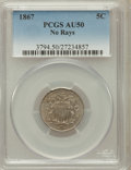Shield Nickels: , 1867 5C No Rays AU50 PCGS. PCGS Population (36/754). NGC Census:(8/728). Mintage: 28,800,000. Numismedia Wsl. Price for pr...