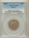 Shield Nickels: , 1873 5C Open 3 AU53 PCGS. PCGS Population (5/220). NGC Census:(3/217). Mintage: 4,500,000. Numismedia Wsl. Price for probl...