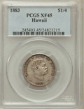 Coins of Hawaii: , 1883 25C Hawaii Quarter XF45 PCGS. PCGS Population (102/1475). NGCCensus: (32/1048). Mintage: 500,000. ...
