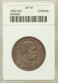 Coins of Hawaii: , 1883 50C Hawaii Half Dollar XF40 ANACS. NGC Census: (39/355). PCGSPopulation (82/500). Mintage: 700,000. ...
