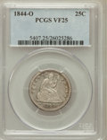 Seated Quarters: , 1844-O 25C VF25 PCGS. PCGS Population (4/66). NGC Census: (0/43).Mintage: 740,000. Numismedia Wsl. Price for problem free ...