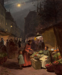 VICTOR GABRIEL GILBERT (French, 1847-1933) The Fruit Seller Oil on canvas 25-1/2 x 21-1/4 inches