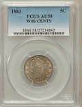 Liberty Nickels: , 1883 5C With Cents AU58 PCGS. PCGS Population (134/955). NGCCensus: (55/788). Mintage: 16,032,983. Numismedia Wsl. Price f...