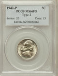 Jefferson Nickels: , 1942-P 5C Type Two MS66 Full Steps PCGS. PCGS Population (309/32).NGC Census: (83/41). Numismedia Wsl. Price for problem ...