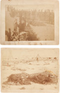 Military & Patriotic:Indian Wars, Two Boudoir Albumen Images of the Aftermath of Battle of Wounded Knee. ... (Total: 2 Items)
