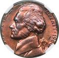 Errors, 1980-P Jefferson Nickel -- Overstruck on a 1980 Cent -- MS64 Redand Brown NGC....