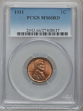 Lincoln Cents, 1911 1C MS66 Red PCGS....