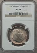Commemorative Silver: , 1926 50C Sesquicentennial MS63 NGC. NGC Census: (1309/2072). PCGSPopulation (1492/2363). Mintage: 141,120. Numismedia Wsl....