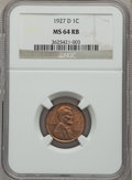 Lincoln Cents: , 1927-D 1C MS64 Red and Brown NGC. NGC Census: (125/52). PCGSPopulation (243/57). Mintage: 27,170,000. Numismedia Wsl. Pric...