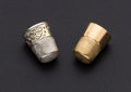 Estate Jewelry:Other , Gold and Sterling Silver Thimbles. ... (Total: 2 Items)
