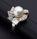 Estate Jewelry:Rings, Cultured Akoya Pearl, Diamond and Platinum Ring. ...