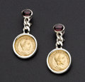 Estate Jewelry:Earrings, Garnet and Silver Earrings. ...