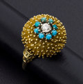 Estate Jewelry:Rings, Diamond, Turquoise and Gold Ring. ...
