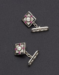 Estate Jewelry:Cufflinks, Art Deco, Diamond, Synthetic Ruby, Platinum Cufflinks. ...